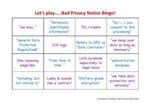 Bingo scorecard showing things that don't belong in a privacy notice