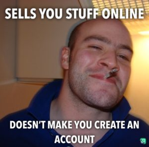 Sells you stuff online - doesn't make you create an account